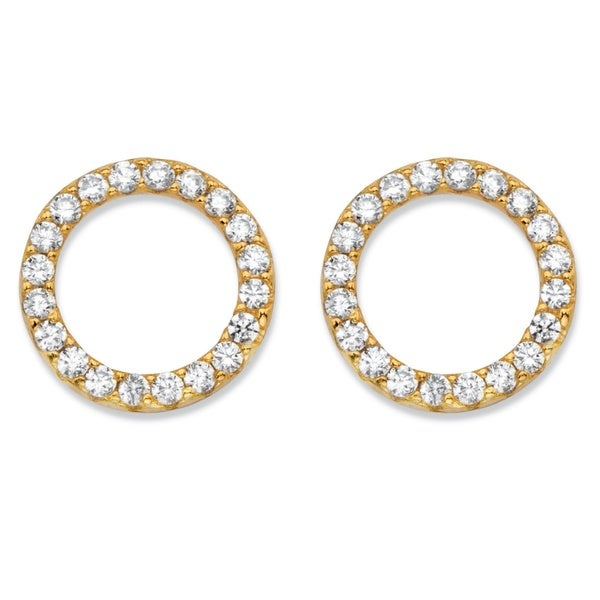 dfebf7098 Round Cubic Zirconia 14k Yellow Gold over Sterling Silver Circle Button  Earrings (.28 cttw