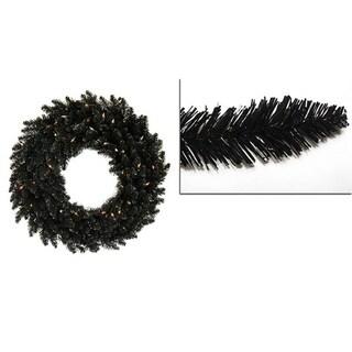 5' Pre-Lit Black Ashley Spruce Christmas Wreath - Clear Lights
