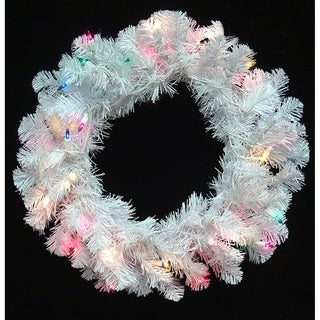"20"" Pre-Lit Crystal White Artificial Christmas Wreath - Multi Dura Lights"
