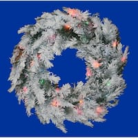 "48"" Pre-Lit Flocked Alaskan Artificial Christmas Wreath - Multi Dura Lights"