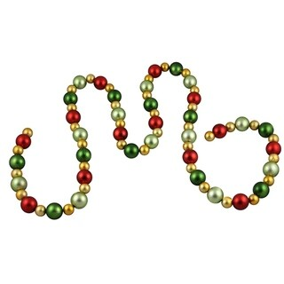 6' Shatterproof Satin Gold, Red and Green Christmas Ball Garland - Unlit