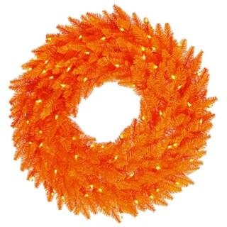 "36"" Pre-Lit Orange Fir Artificial Halloween or Christmas Wreath - Orange Lights"