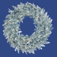 5' Pre-Lit Silver Ashley Spruce Tinsel Christmas Wreath - Clear Lights