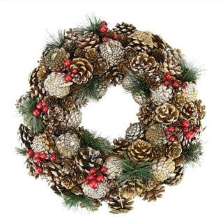 """19"""" Natural Glitter Pine Cone and Berries Artificial Christmas Wreath - Unlit"""