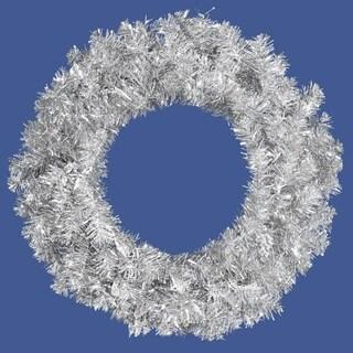 "36"" Sparkling Silver Tinsel Artificial Christmas Wreath - Unlit"