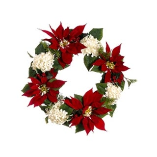 "22"" La Costa Red Poinsettia & White Hydrangea Holly Artificial Christmas Wreath"