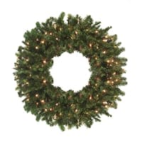 "24"" Pre-Lit Canadian Pine Artificial Christmas Wreath - Clear Lights"