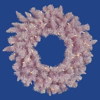 """24"""" Pre-Lit LED Flocked Cupcake Pink Artificial Christmas Wreath - Clear Lights"""