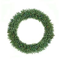 6' Pre-Lit Buffalo Fir Commercial Artificial Christmas Wreath - Multi LED Lights