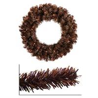 "36"" Pre-Lit Mocha Brown Sparkling Artificial Christmas Wreath - Clear Lights"