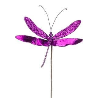 """10"""" Princess Garden Sparkling Violet Dragonfly Beaded Floral Craft Pick"""