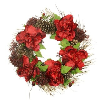 "24"" Red Peony and Sedum Floral Artificial Christmas Wreath with Pine Cones - Unlit"