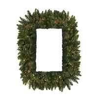 """36"""" Pre-Lit Camdon Fir Rectangular Artificial Christmas Wreath - Multi Lights"""