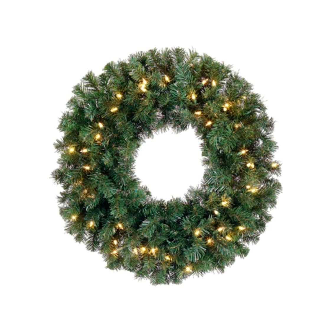 16 Pre Lit Deluxe Windsor Pine Artificial Christmas Wreath Clear Lights Overstock 16990631