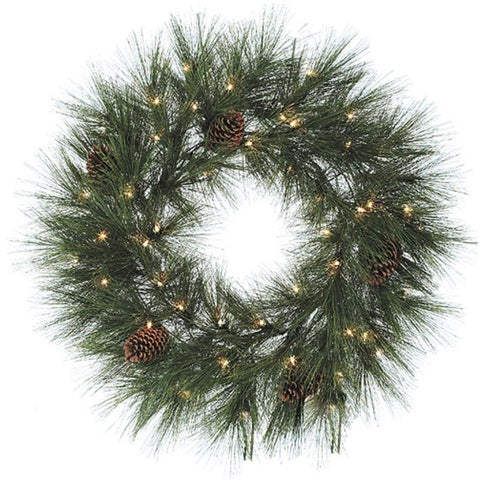 "30"" Pre-Lit Long Needle Weeping Jackson Pine Christmas Wreath - Clear Lights"