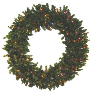 """36"""" Pre-Lit Battery Operated Canadian Pine Christmas Wreath - Multi LED Lights"""