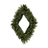 "48"" Pre-Lit Camdon Fir Diamond Shaped Artificial Christmas Wreath - Multi Lights"