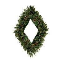 "48"" Pre-Lit Camdon Fir Diamond Shaped Artificial Christmas Wreath - Multi Lights"