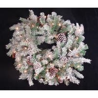 "30"" Flocked Pine Cone Christmas Wreath - Clear Lights"