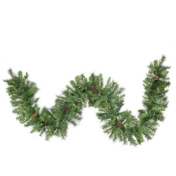 "Shop 50' x 12"" Pre-Lit Dakota Red Pine Commercial Artificial Christmas Garland - Warm White LED Lights - Free Shipping Today - Overstock.com - 16990654"