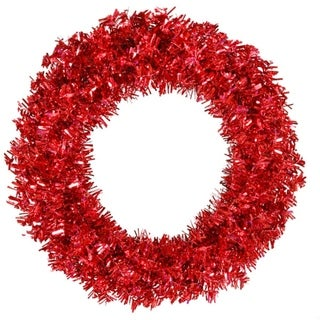 """30"""" Pre-Lit Red Hot Wide Cut Tinsel Artificial Christmas Wreath - Red Lights"""