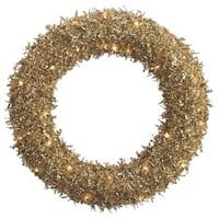 "22"" Pre-Lit Sparkling Gold Glittered Sequin Christmas Iced Wreath #XAI620-GO"