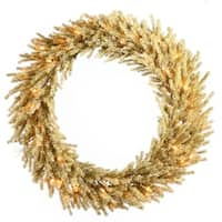 "30"" Pre-Lit Sparkling Champagne Artificial Christmas Wreath - Clear Lights"