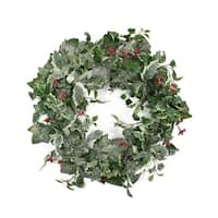 """24"""" Frosted Holly Berry and Ivy Artificial Christmas Wreath - Unlit"""