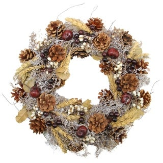"""14"""" Natural and Yellow Pine Cone and Wheat Artificial Christmas Wreath - Unlit"""