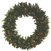 Commercial 7' Pre-Lit Canadian Pine Artificial Christmas Wreath - Multi Lights