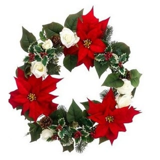 "22"" Red Poinsettia and White Rose Artificial Christmas Wreath - Unlit"