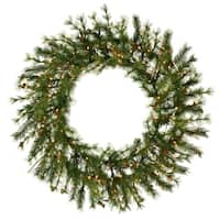 "60"" Pre-Lit Mixed Country Pine Commercial Christmas Wreath - Clear Dura Lights"