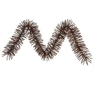 "9' x 10"" Pre-lit Sparkling Mocha Brown Tinsel Artificial Christmas Garland - Clear Lights"