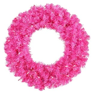 """36"""" Pre-Lit Sparkling Hot Pink Tinsel Artificial Christmas Wreath - Pink Lights"""