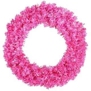 "30"" Pre-Lit Sparkling Pink Wide Cut Artificial Christmas Wreath - Pink Lights"