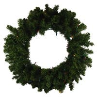 "24"" Pre-Lit Canadian Pine Artificial Christmas Wreath - Multi-Color Lights"