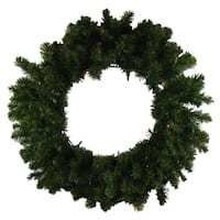 "24"" Pre-Lit Canadian Pine Artificial Christmas Wreath - Multi-Color Lights"
