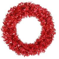 "36"" Pre-Lit Red Hot Wide Cut Tinsel Artificial Christmas Wreath - Red Lights"