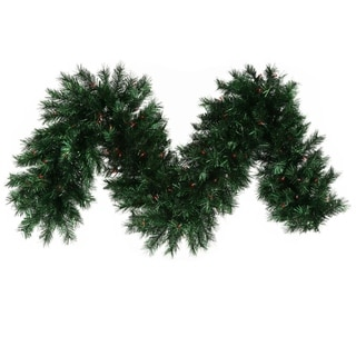 "9' x 16"" Pre-lit Midnight Green Pine Christmas Tinsel Garland - Red Dura Lights"