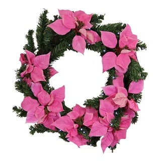 "22"" Pre-Lit B/O Pink Artificial Poinsettia Christmas Wreath - Clear LED Lights"