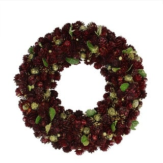 """18"""" Wine Burgundy and Gold Glitter Pine Cone Artificial Christmas Wreath - Unlit"""