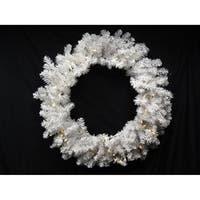"30"" B/O Pre-Lit Snow White Artficial Christmas Wreath - Warm Clear LED Lights"