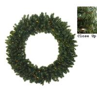 """72"""" Pre-Lit Commercial Canadian Pine Artificial Christmas Wreath - Multi Lights"""