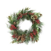 "24"" Red Berry, Pine Cone and Eucalyptus Leaf Long Needle Pine Artificial Christmas Wreath - Unlit"