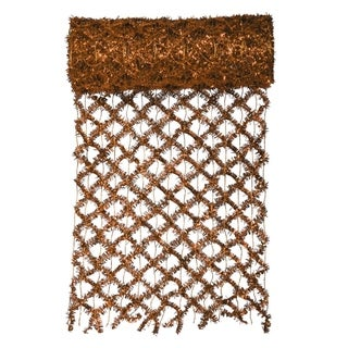 "30' x 12"" Commercial Length Extra Wide Wired Mesh Copper Tinsel Garland Ribbon"
