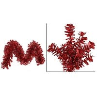 "9' x 14"" Pre-Lit Red Wide Cut Laser Tinsel Christmas Garland - Red Lights"