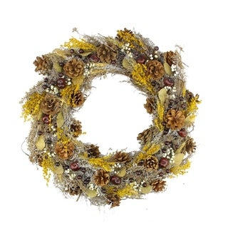 """20"""" Natural and Yellow Pine Cone and Wheat Artificial Christmas Wreath - Unlit"""