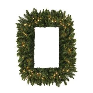 """36"""" Pre-Lit Camdon Fir Rectangular Artificial Christmas Wreath -Clear LED Lights"""
