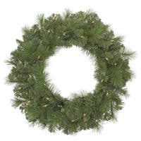 "30"" Pre-Lit Mixed Sierra Pine Artificial Christmas Wreath - Clear Lights"