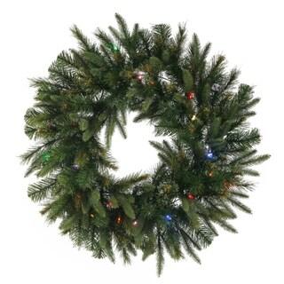 "24"" Pre-Lit Mixed Cashmere Pine Artificial Christmas Wreath - Mult-Color LED Lights"